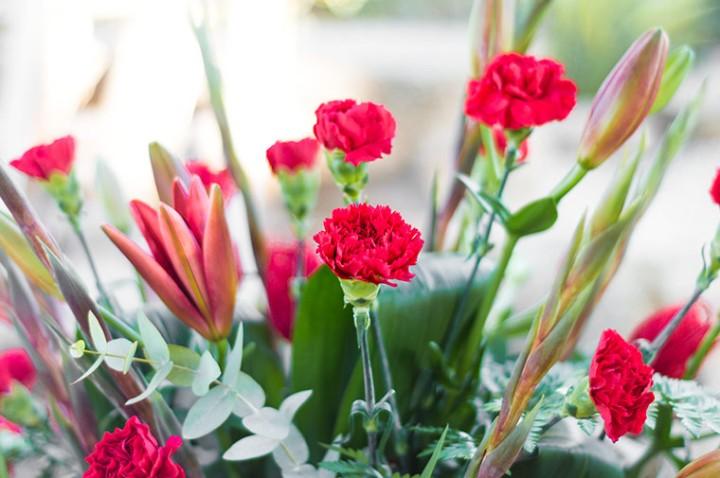 Centro de flores rojas floristería juani Totana Murcia